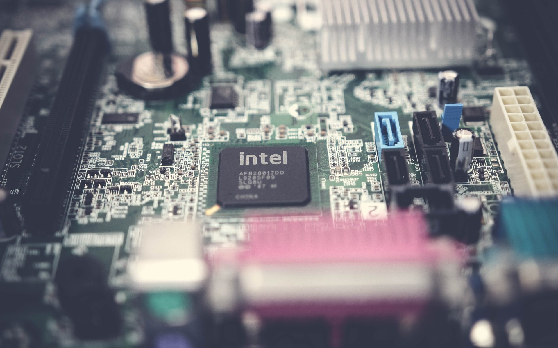 Intel CPU chip shown on computer's internal motherboard