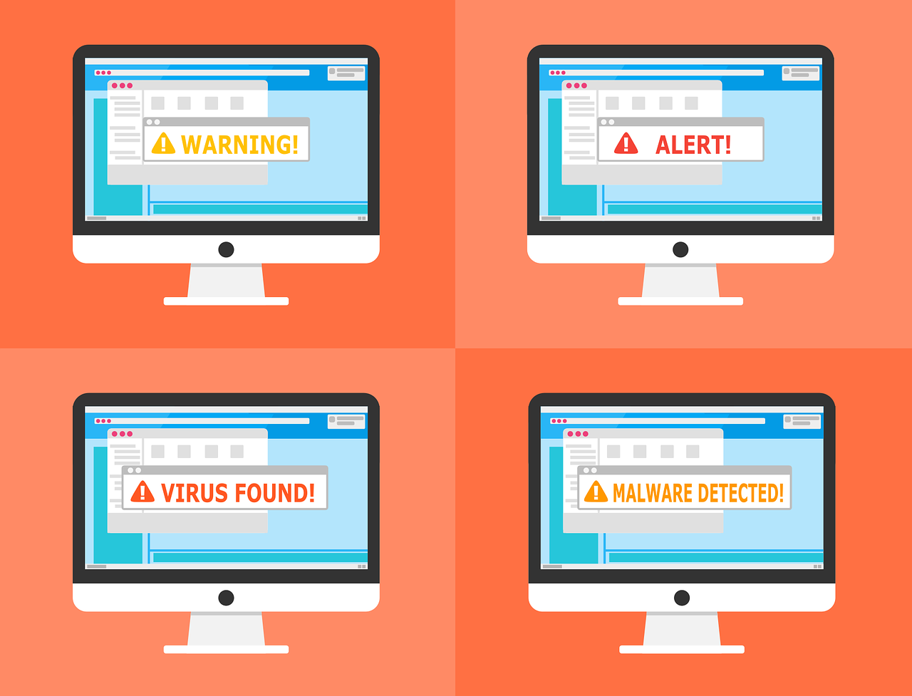 Computers showing malware and virus warnings